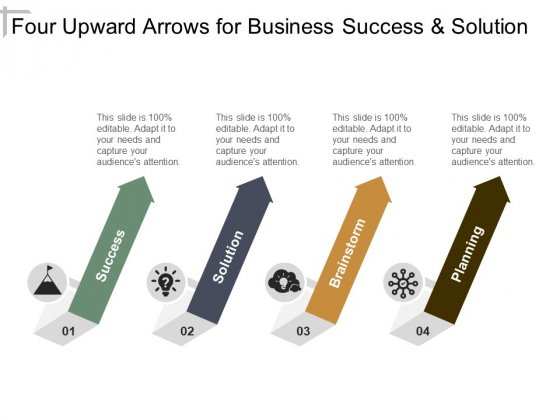 Four Upward Arrows For Business Success And Solution Ppt PowerPoint Presentation Show Tips