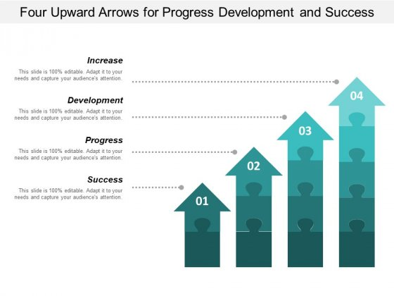Four Upward Arrows For Progress Development And Success Ppt PowerPoint Presentation Outline Topics