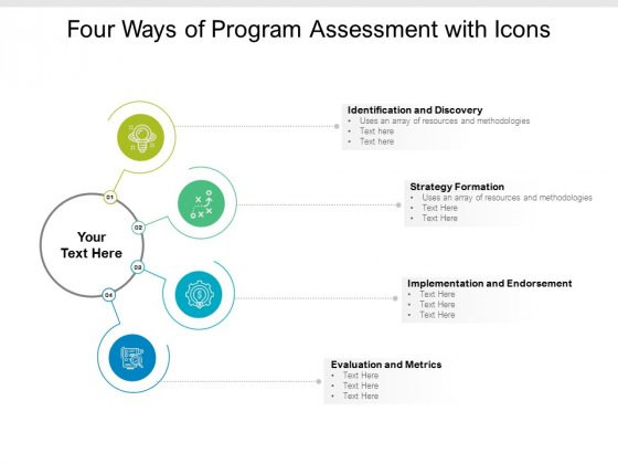 Four Ways Of Program Assessment With Icons Ppt PowerPoint Presentation Pictures Ideas
