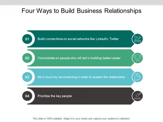 Four Ways To Build Business Relationships Ppt PowerPoint Presentation Icon Slide Portrait