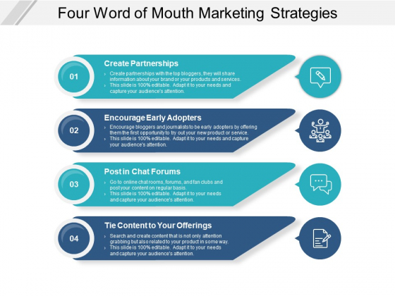Four Word Of Mouth Marketing Strategies Ppt PowerPoint Presentation Model Styles