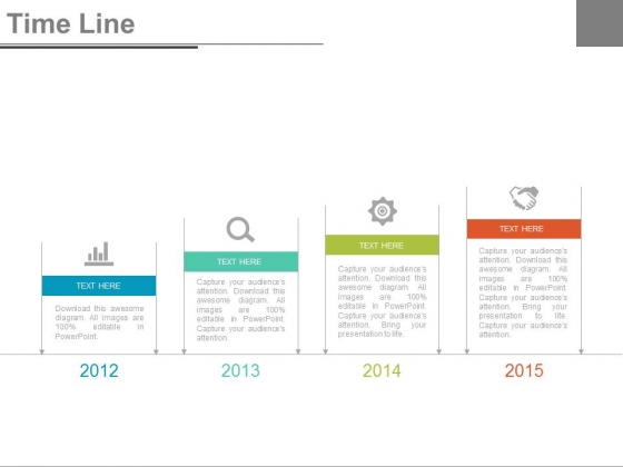 Four Years Tags With Timeline Icons Powerpoint Slides