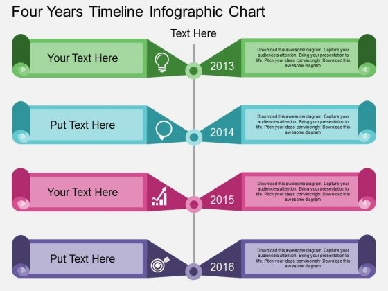 Four Years Timeline Infographic Chart Powerpoint Template ...