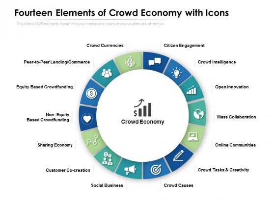 Fourteen Elements Of Crowd Economy With Icons Ppt PowerPoint Presentation Ideas Example
