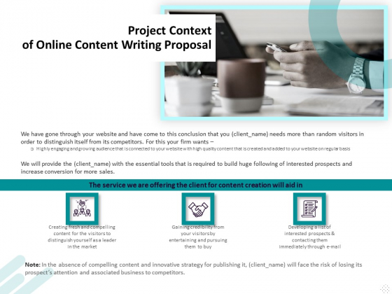 Freelance Writing Project Context Of Online Content Writing Proposal Ppt Layouts Guidelines PDF