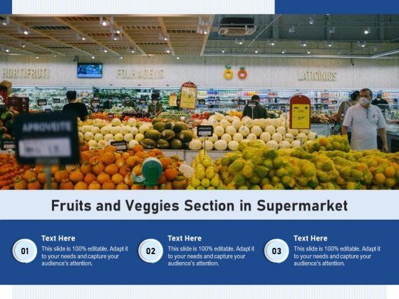 Fruits And Veggies Section In Supermarket Ppt PowerPoint Presentation Gallery Clipart PDF