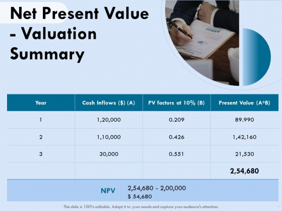Functional Analysis Of Business Operations Net Present Value Valuation Summary Download PDF