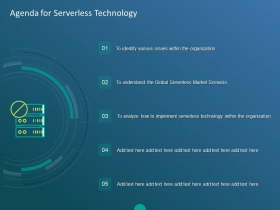 Functioning Of Serverless Computing Agenda For Serverless Technology Ppt Layouts Demonstration PDF