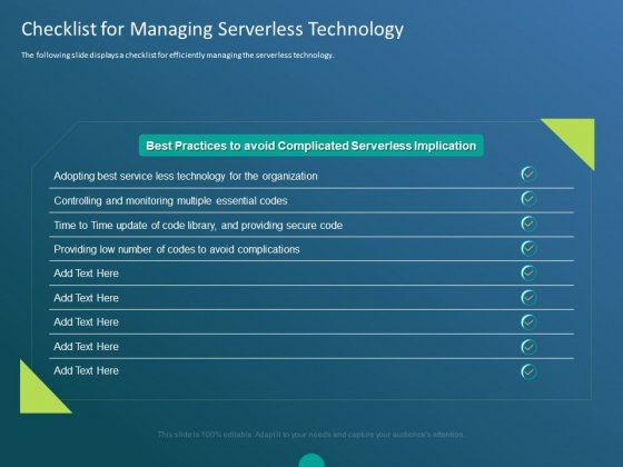 Functioning Of Serverless Computing Checklist For Managing Serverless Technology Ppt Model Images PDF