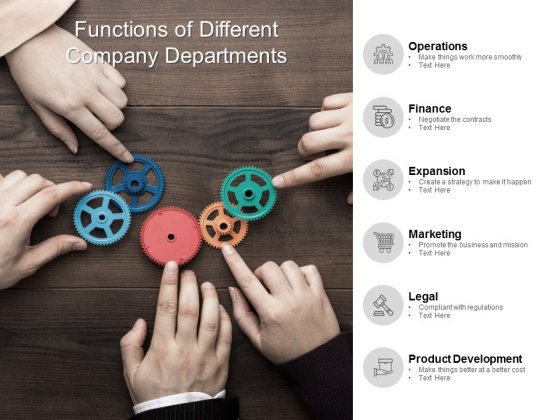 Functions Of Different Company Departments Ppt PowerPoint Presentation Infographics Deck