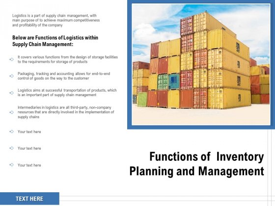 Functions Of Inventory Planning And Management Ppt PowerPoint Presentation Outline Model PDF