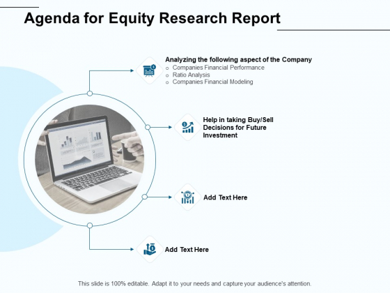 Fund Investment Advisory Statement Agenda For Equity Research Report Ppt Gallery Visual Aids PDF