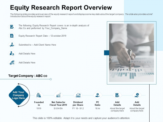 Fund Investment Advisory Statement Equity Research Report Overview Ppt Outline Infographics PDF