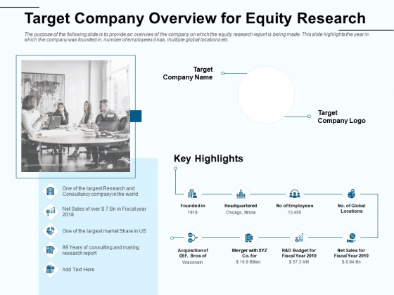 Fund Investment Advisory Statement Target Company Overview For Equity Research Mockup PDF