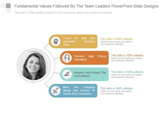 Fundamental Values Followed By The Team Leaders Powerpoint Slide Designs