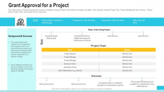Funding Deck To Procure Funds From Public Enterprises Grant Approval For A Project Demonstration PDF
