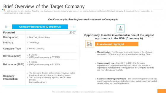 Funding Pitch Book Outline Brief Overview Of The Target Company Background PDF