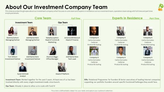 Funding Pitch Deck About Our Investment Company Team Rules PDF