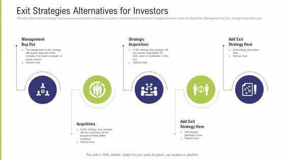 Funding Pitch Deck To Obtain Long Term Debt From Banks Exit Strategies Alternatives For Investors Topics PDF