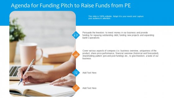 Funding Pitch To Raise Funds From PE Agenda For Funding Pitch To Raise Funds From PE Introduction PDF