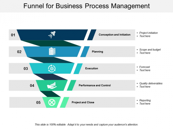 Funnel For Business Process Management Ppt PowerPoint Presentation Icon Graphics