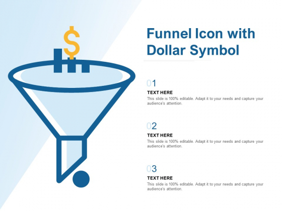 Funnel Icon With Dollar Symbol Ppt PowerPoint Presentation File Gallery