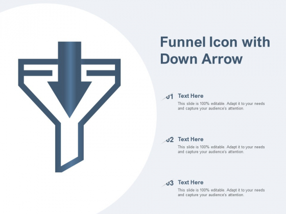 Funnel Icon With Down Arrow Ppt PowerPoint Presentation Infographics Gallery