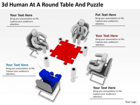 Famous Business People 3d Human At Round Table And Puzzle PowerPoint Templates