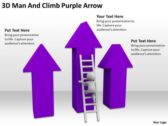 Famous Business People 3d Man And Climb Purple Arrow PowerPoint Templates