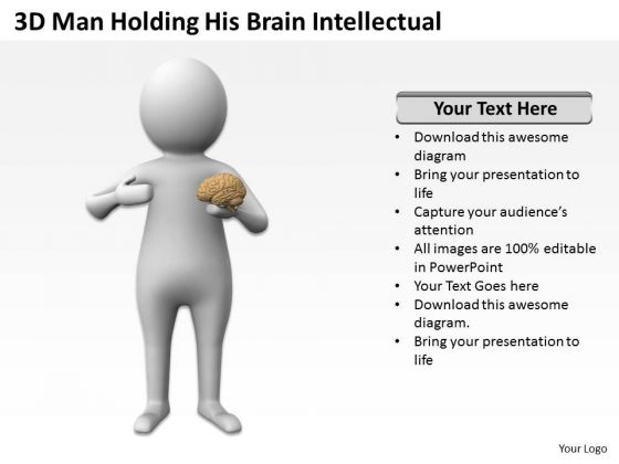 Famous Business People 3d Man Holding His Brain Intellectual PowerPoint Slides