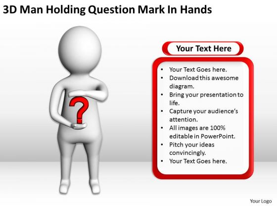 Famous Business People 3d Man Holding Question Mark Hands PowerPoint Templates