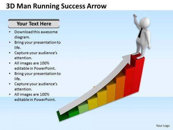Famous Business People 3d Man Running Success Arrow PowerPoint Templates