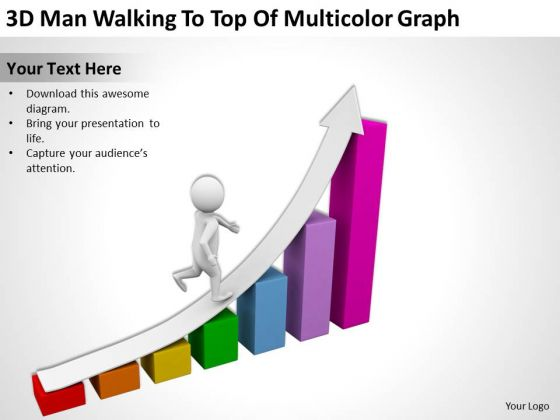 Famous Business People 3d Man Walking To Top Of Multicolor Graph PowerPoint Slides