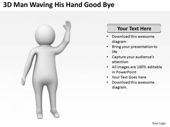 Famous Business People 3d Man Waving His Hand Good Bye PowerPoint Slides