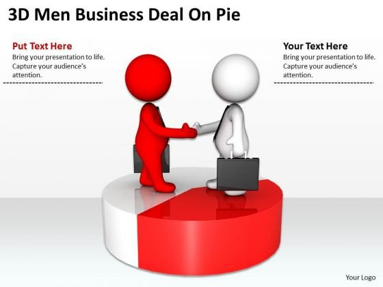 Famous Business People 3d Men Deal On Pie PowerPoint Templates