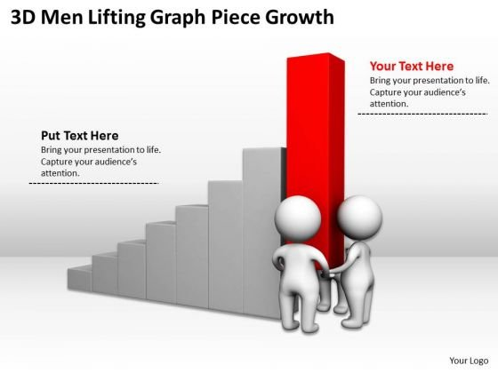 Famous Business People 3d Men Lifting Graph Piece Growth PowerPoint Slides