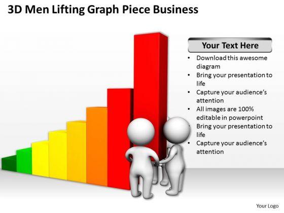 Famous Business People 3d Men Lifting Graph Piece PowerPoint Theme Slides