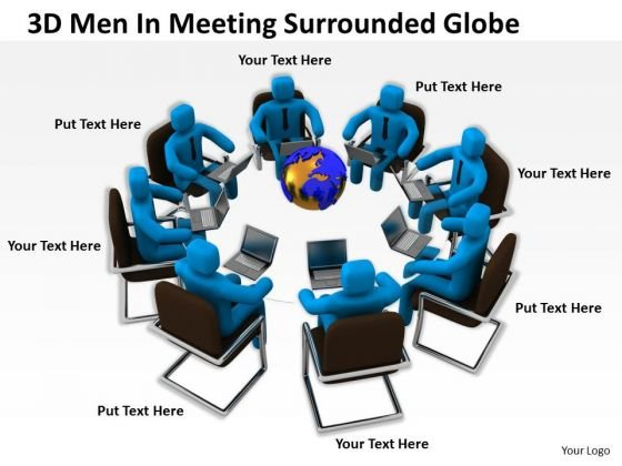Famous Business People 3d Men Meeting Surrounded Globe PowerPoint Slides