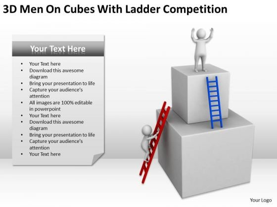 Famous Business People 3d Men On Cubes With Ladder Competition PowerPoint Slides