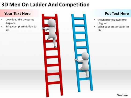 Famous Business People 3d Men On Ladder And Competition PowerPoint Slides