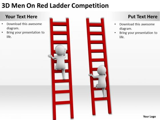 Famous Business People 3d Men On Red Ladder Competition PowerPoint Slides