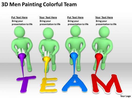 Famous Business People 3d Men Painting Colorful Team PowerPoint Slides