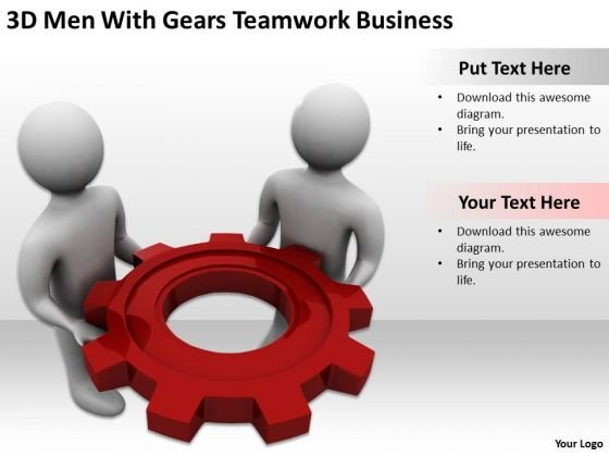 Famous Business People 3d Men With Gears Teamwork PowerPoint Theme Templates