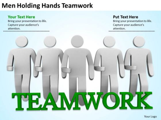 Famous Business People Men Holding Hands Teamwork PowerPoint Templates