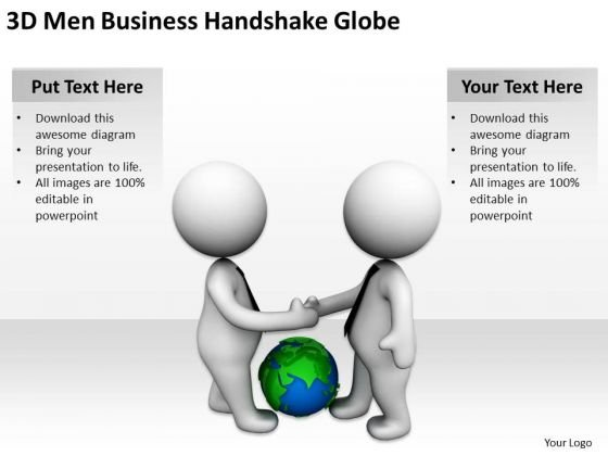 Famous Business People PowerPoint Templates Free Download Handshake Globe Slides