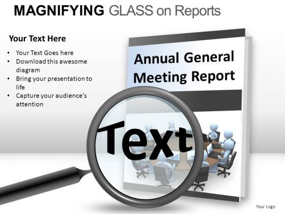 Fashion Magnifying Glass On Report PowerPoint Slides And Ppt Diagram Templates