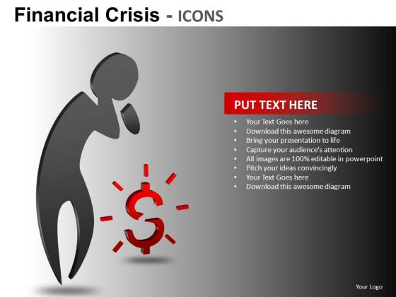 Financial Crisis Icons Ppt 1