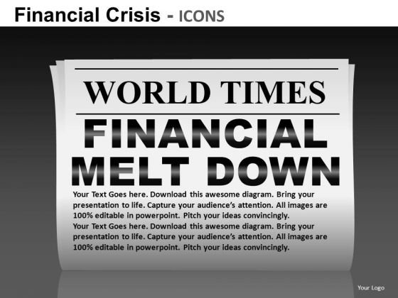Financial Melt Down Newspaper Headlines PowerPoint Templates