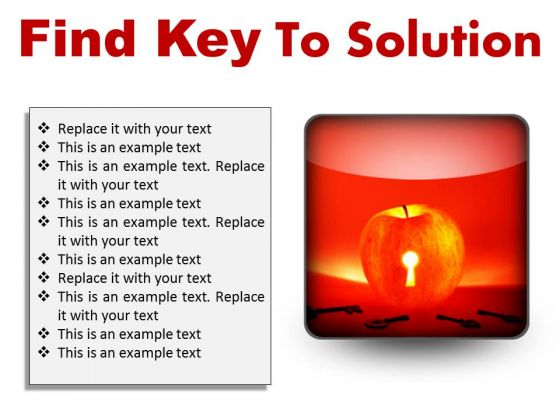 Find Key To Solution Business PowerPoint Presentation Slides S