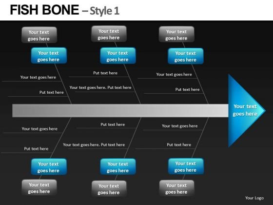 Fish Bone Diagram Analysis PowerPowerPoint Templates Editable Ppt Slides